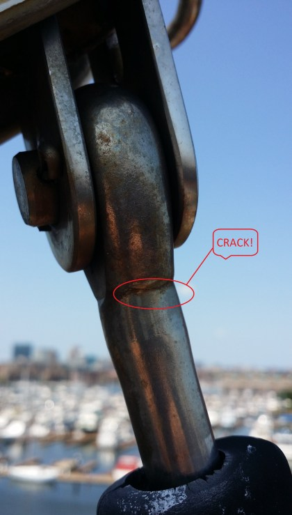 Marine Eye. Cracked fitting. Cracked Headstay. Cracked forestay fitting