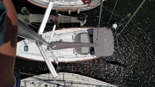 Bene 411 from aloft. Up the mast