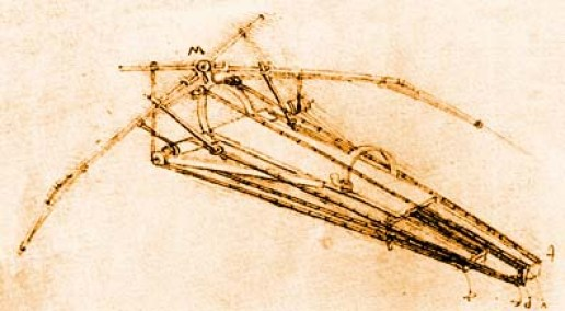 Da Vinci's Orinthopter, first designs of people in flight, man propelled flying machine