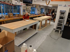 Building new shop benches ready for resin top The Rigging Company