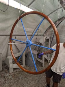 REfinished Teak Wheel Using the TRC Epoxy and Awlgrip Technique