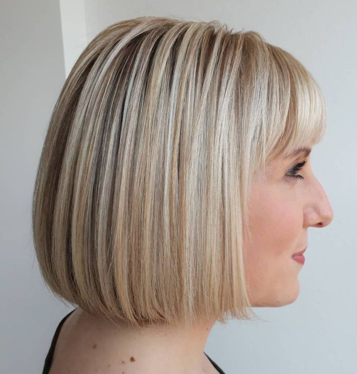 Blunt Blonde Bob With Bangs