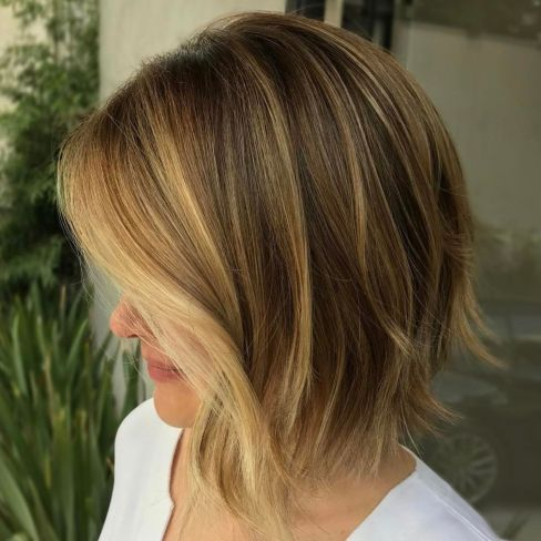Brown Choppy Bob With Golden Blonde Highlights