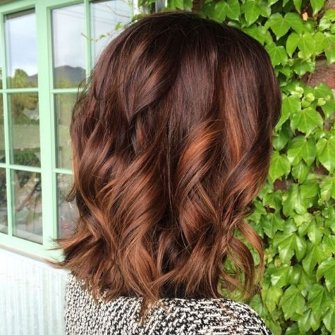 Brown Lob With Copper Highlights