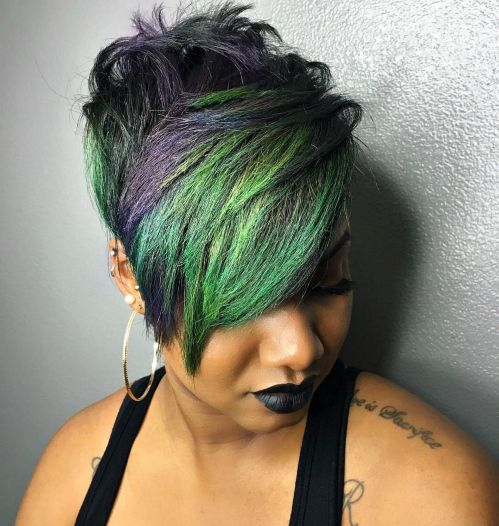 Black Pixie With Green And Purple Bangs