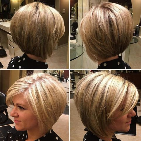 Rounded Bob With Zig-Zag Parting