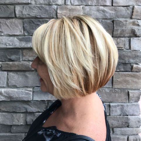 Medium Rounded Blonde Bob For Older Women