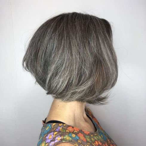 Loosely Curled Gray Bob Hairstyle