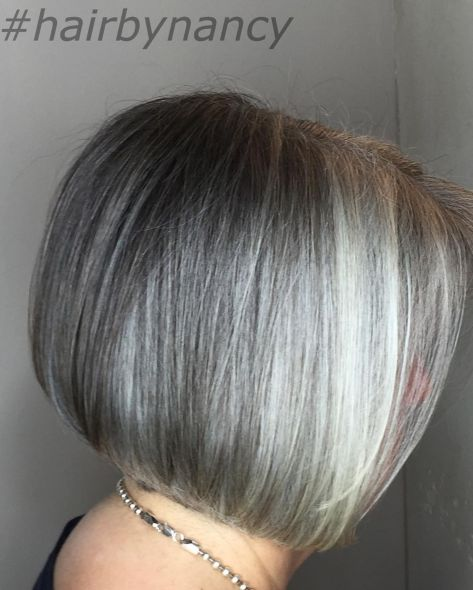 Gray Bob With Platinum Highlights