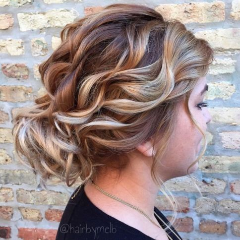 Curly Loose Updo For Round Face