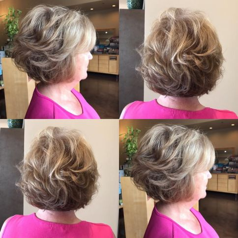 Feathered Bronde Bob Over 60