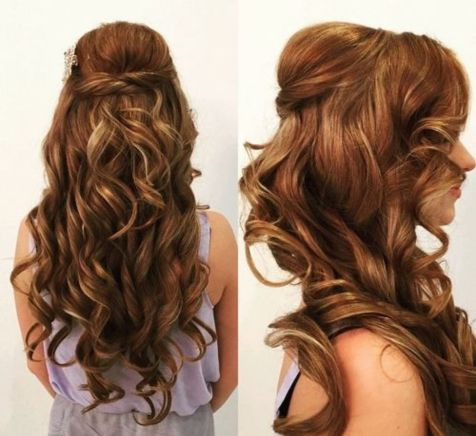 curly half updo with a bouffant for long hair