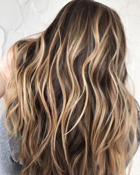 High-Contrast Caramel Blonde Highlights