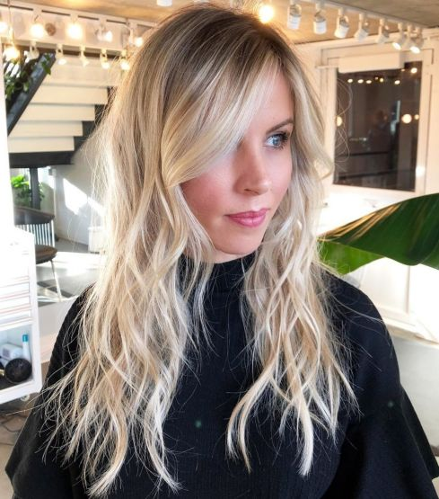Long Wavy Blonde Shag
