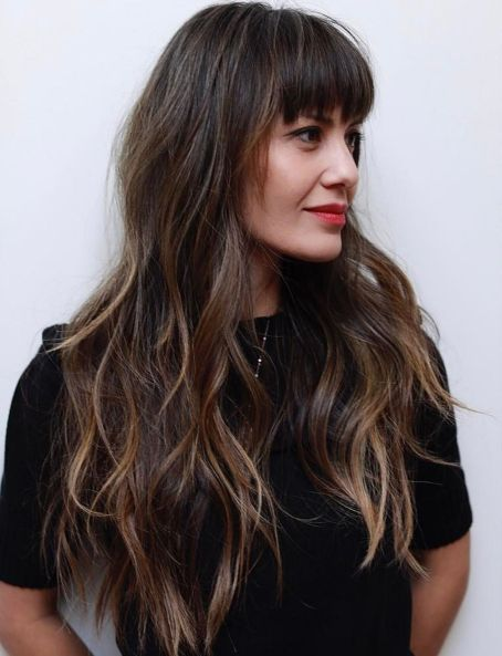 Long Hair With Eyebrow-Skimming Bangs