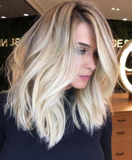 Blonde Choppy Lob Blowout