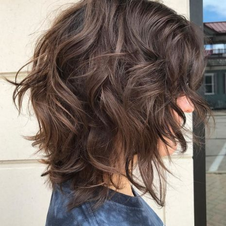 Messy Brown Bob Haircut With Bangs