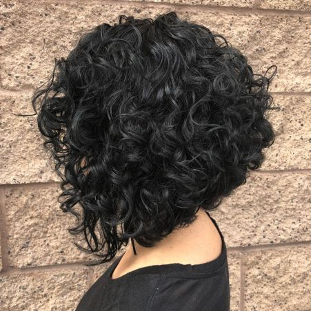 Stacked Black Bob For Naturally Curly Hair