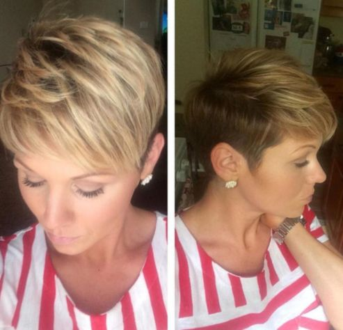 Short Light Brown Pixie with Blonde Highlights