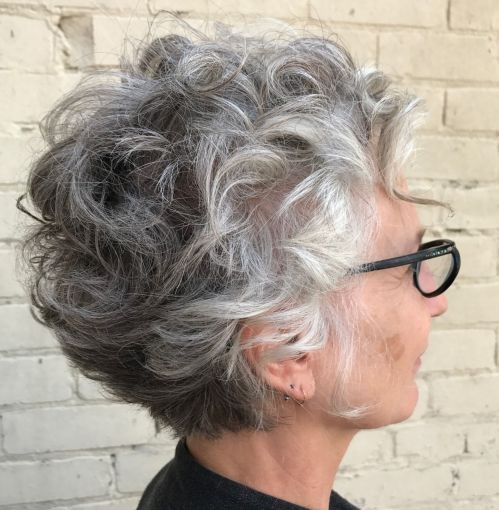 Curly Gray Hairstyle for Older Women