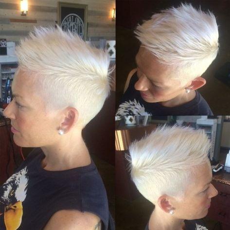 Short Spiky White Blonde Pixie