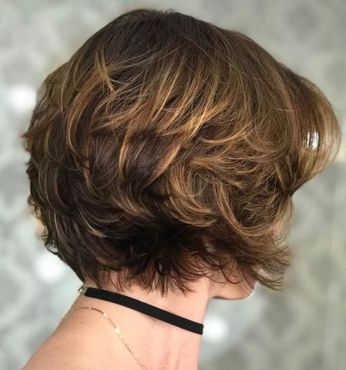 Nape-Length Feathered Haircut With Subtle Highlights