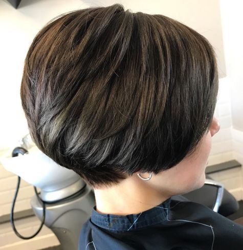 Short Stacked Brunette Cut With Layers
