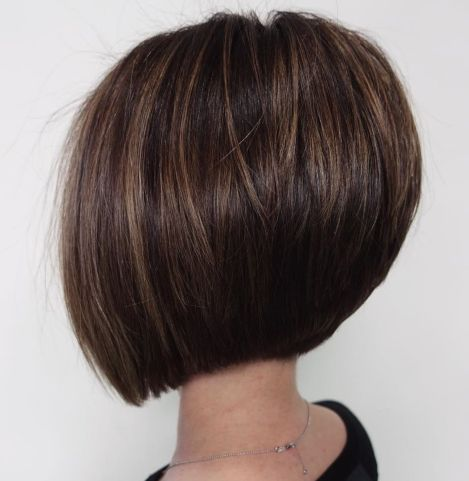 Straight Brunette Bob With Subtle Highlights
