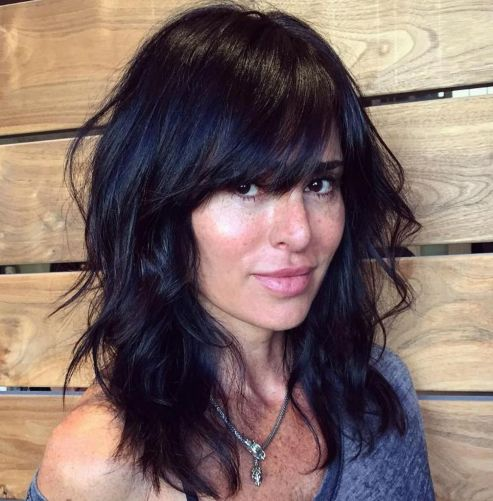 Medium Black Layered Hairstyle With Bangs