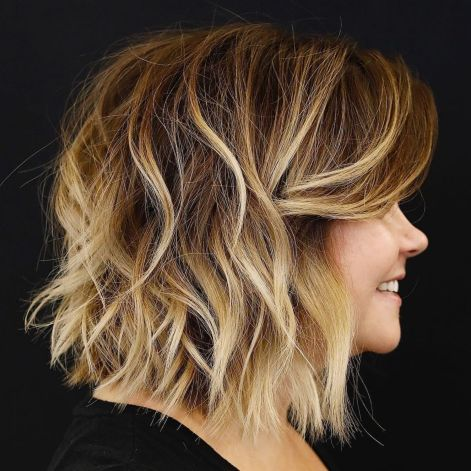 Shaggy Brown Bob With Bleached Highlights