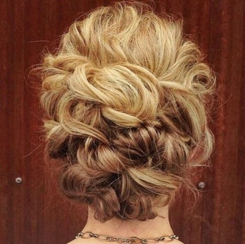 blonde curly updo
