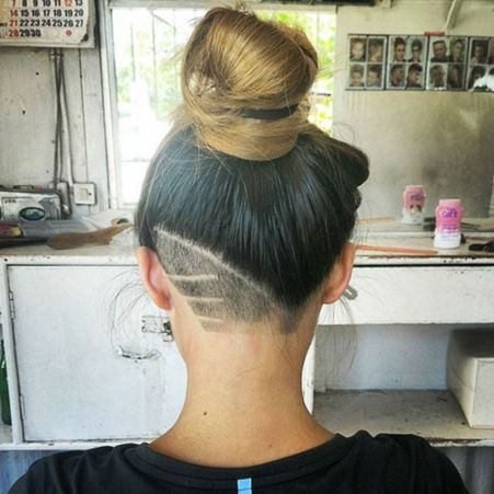 bun with a nape undercut for women