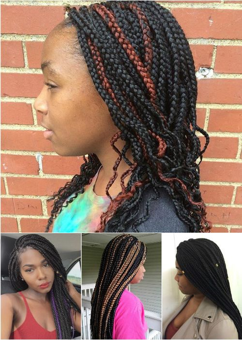 medium and long box braids