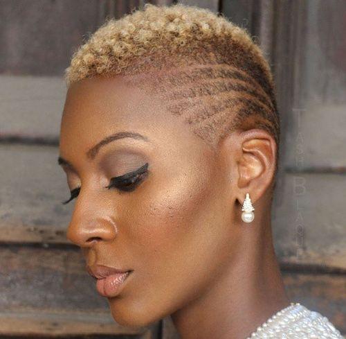 short blonde afro undercut for women