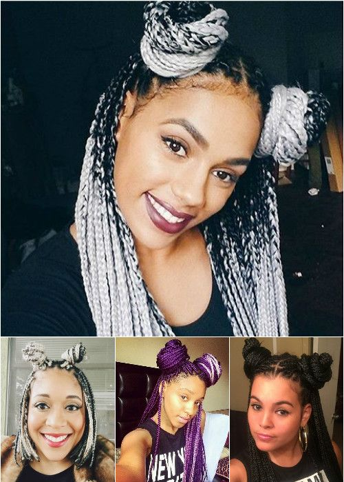 two buns half updos for box braids