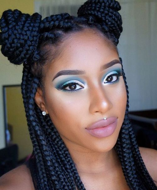 Two Half Buns For Box Braids