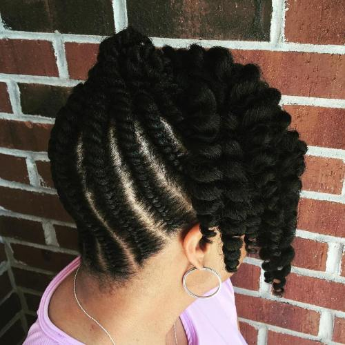 Black Flat Twists Updo