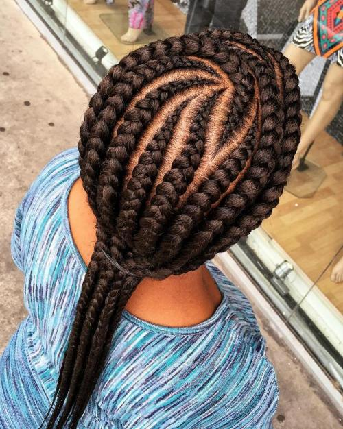 Curvy Cornrows With Extensions