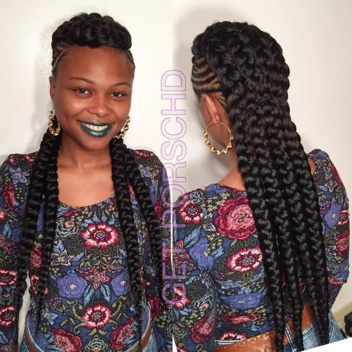 Braided Mohawk With Chunky Braids