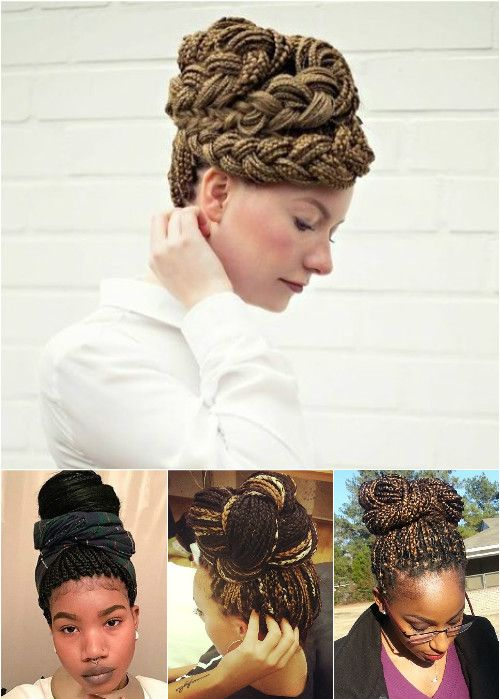 braided updos and buns for box braids