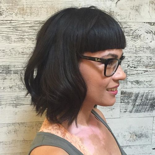black wavy lob with cropped blunt bangs