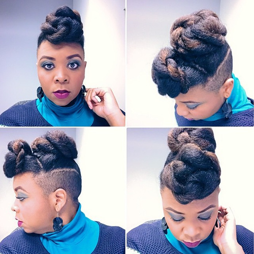 braided hairstyle with undercuts