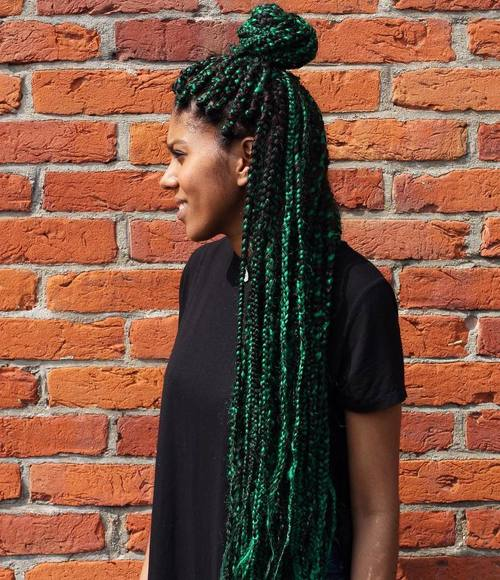 Funky Black And Green Box Braids