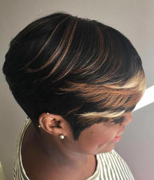 Short Tapered Haircut With Highlights In Bangs