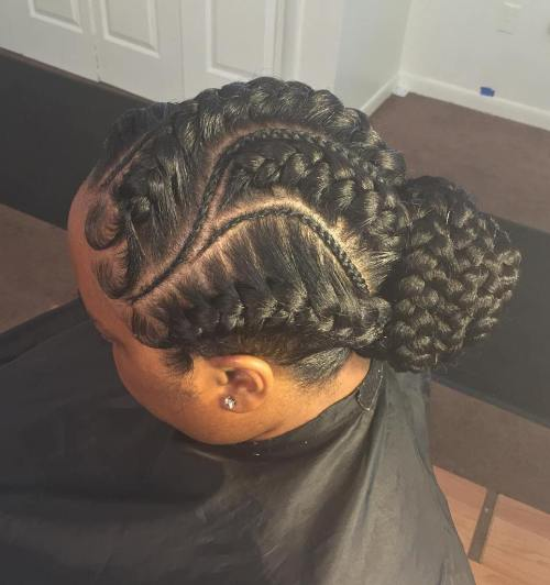 Thick And Thin French Braids Updo
