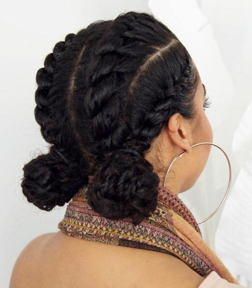 Two Low Buns Protective Updo