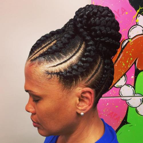 70 best black braided hairstyles that turn heads in 2017 goddess braids with a bun pmusecretfo Images