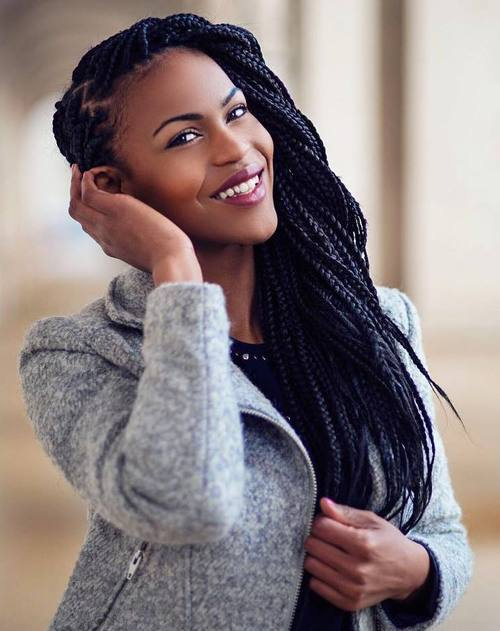 Side Swept Box Braids Hairstyle