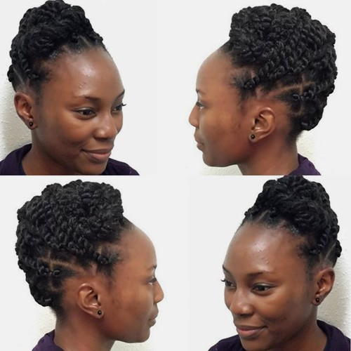 protective updo with twists