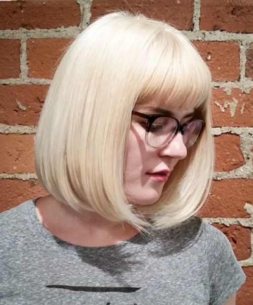 platinum blonde bob with bangs
